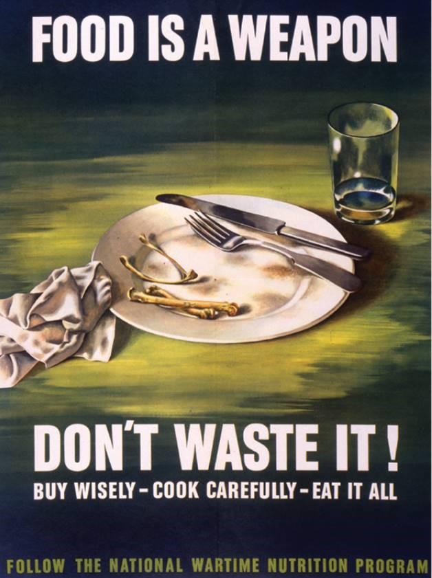Illustrerer hvordan myndighetene i USA oppfordret folk til å ikke kaste mat under 2. verdenskrig (kilde: http://www.smithsonianeducation.org/educators/lesson_plans/civic_responsibility/smithsonian_siyc_fall07.pdf).